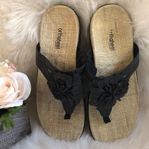7b6c5f6cb13 Vionic Shoes - ORTHAHEEL VIONIC TALIA BLACK FLOWER FLIP FLOPS 10